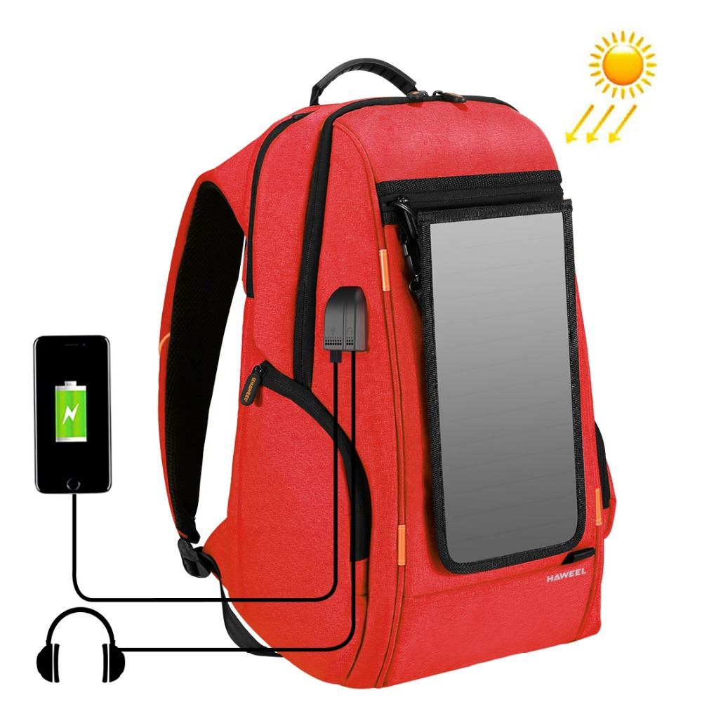 Outdoor Multi-function Solar Panel Power Comfortable Breathable Casual Backpack Laptop Bag for 3C /Camera Accessories