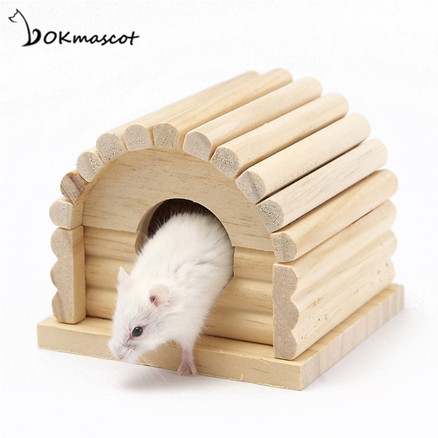 Vokmascot Hamster Log Cabin Luxurious Solid Wood Single Villa Wooden Toy House The Dutch Pig Cage Small Pet Toys