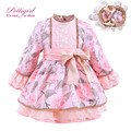 Pettigirl Newest Pink Bountique Printed Autumn Girls Dress With Bow With Handmade Headband Kids Dress Kid Clothing G-DMGD908-886