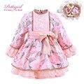 Pettigirl reciente pink bountique impreso otoño vestido de las muchachas con el arco con hecho a mano diadema niños visten la ropa del cabrito g-dmgd908-886