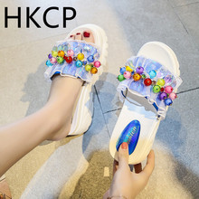 HKCP 2019 summer rhinestone beaded flowers high-heeled slippers female muffin thick-soled color word sandals and C380