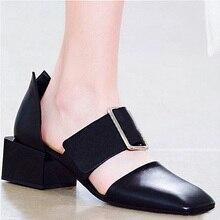 G ianvitoรอสซีแบรนด์หรูรองเท้าผู้หญิงหัวตารางเข็มขัดหัวเข็มขัดต่ำส้นรองเท้าหนังแท้ผู้หญิงรองเท้าแตะs choenen