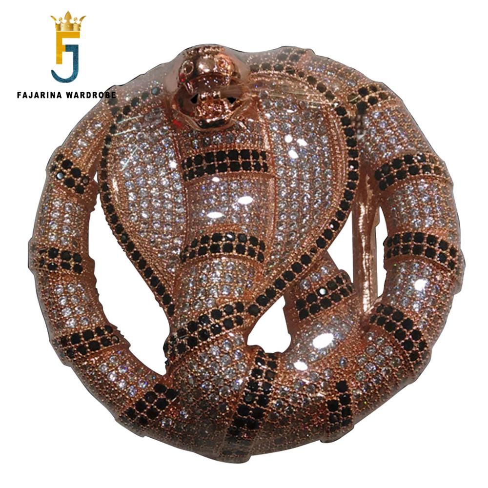 FAJARINA Unique Design Cobra Pattern Buckles Luxury Sky Star Stainless Steel With Crystal Diamond Animal Belts Buckle Men BCK025
