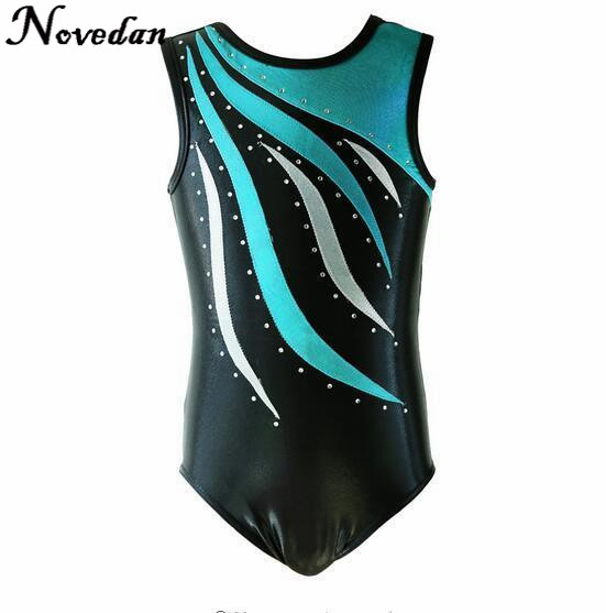 Girls Gymnastic Leotards Kids Ribbon Rhinestone Dance Leotards Girls Children Training Biketard Dancewear Ballet Dress