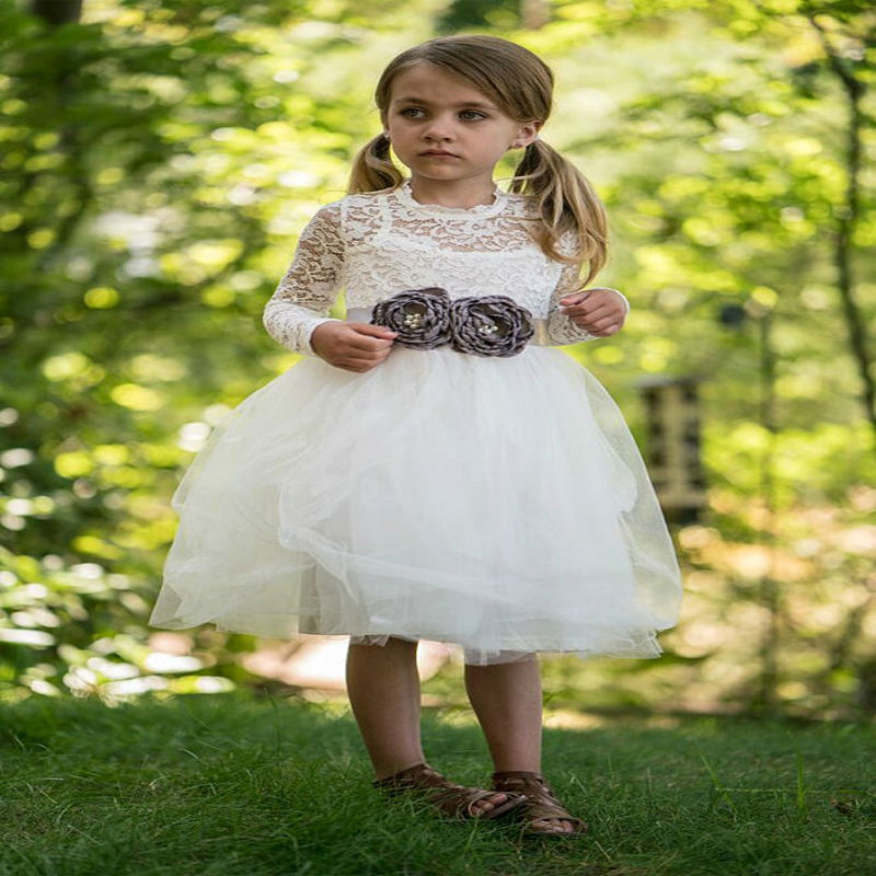 long Sleeve Flower Girl Dresses for Wedding A-Line Princess Dress Lace Mother Daughter Dresses for Girls Girls Pageant Dresses