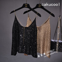 Cakucool Women Summer Knit Tanks Camis Khaki Black Sequined Camisole Beaded Backless Sexy Club Basic Tops