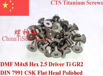Titanium screw M4x8 DIN 7991 Hex 2.5 Driver Ti GR2 Polished 10 pcs titanium screws m4x20 din 912 hex 3 0 driver polished