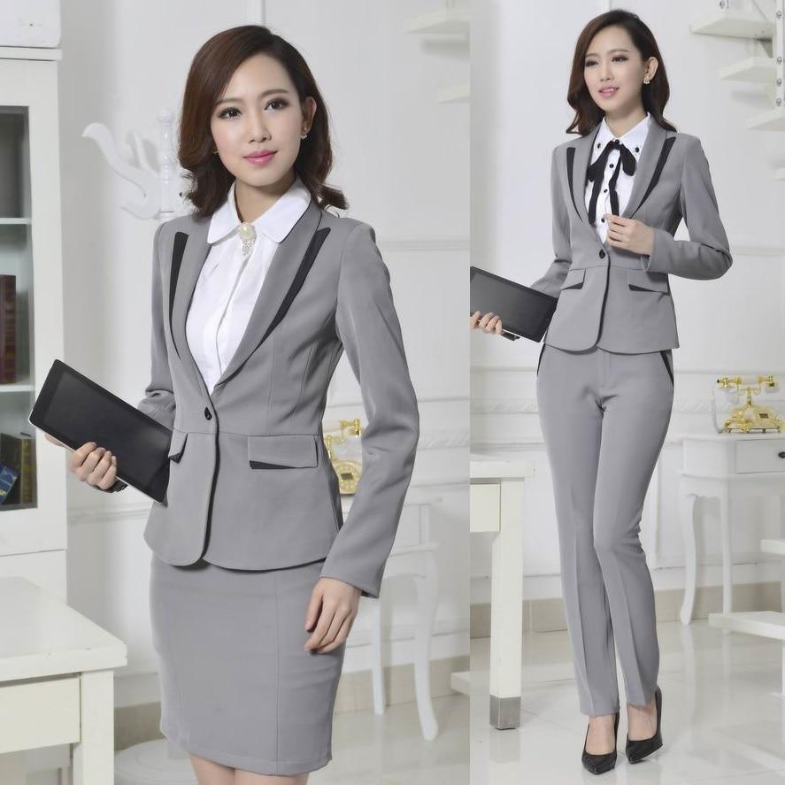 Fashion Formal Pant Suits Women Trousers Winter 2015 Gray Blazer Ladies Work Wear Office Uniform Plus Size - Kidmall Online Store store