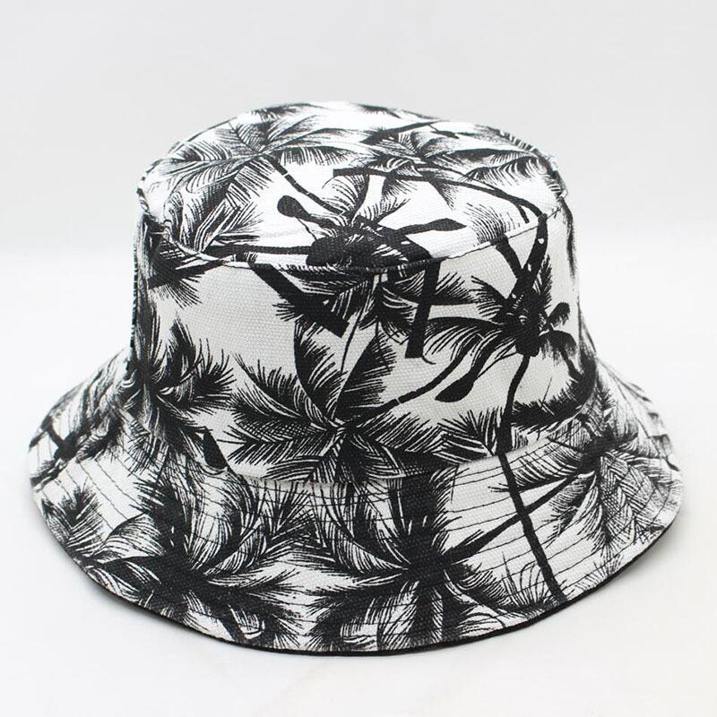 Nuovo Unisex di Estate di Modo Reversibile Nero Bianco Albero di Cocco  Stampato Pescatore Caps Cappelli 60d0e1171f76