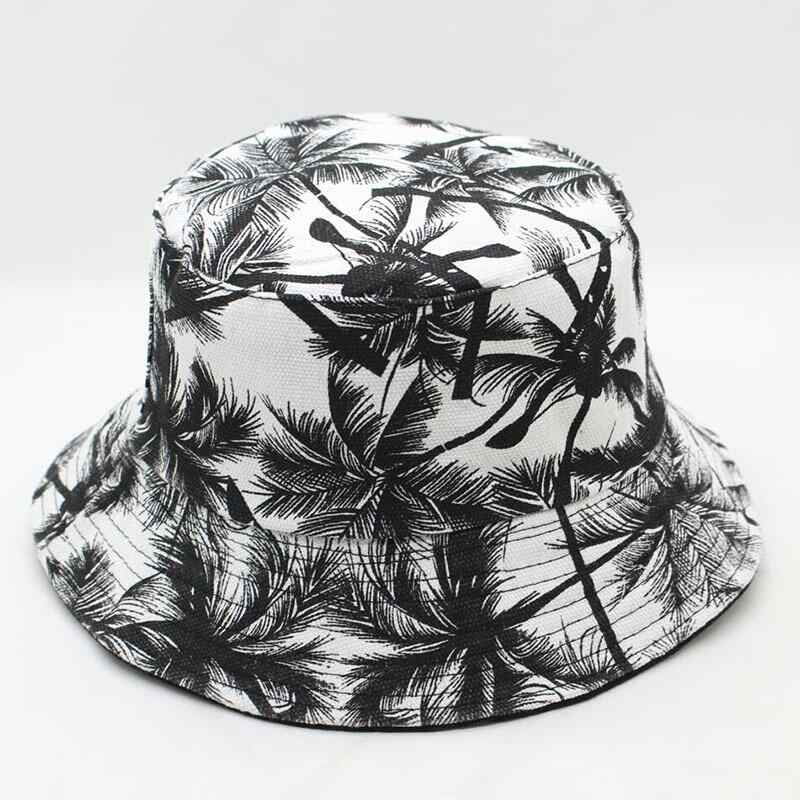 New Unisex Fashion Summer Reversible Black White Coconut Tree Printed  Fisherman Caps Bucket Hats Gorro Pescador 76670791148