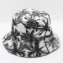 52de27ff24fe8c Unisex Summer Reversible Black White Coconut Tree Printed Fisherman Caps  Bucket Hats