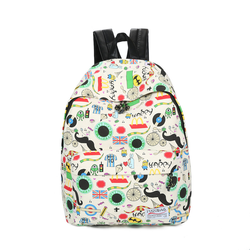 Canvas Backpacks Student School Bag Cartoon Print Rucksack Travel Pack Laptop Bolsa Mochila Escolar