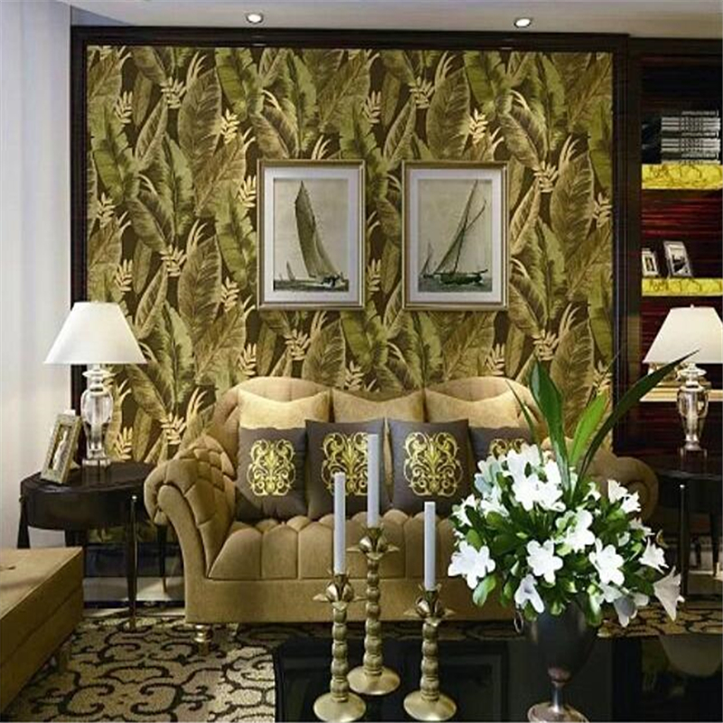 beibehang Southeast Asian banana leaf wallpaper 3d  mural deep embossed background wall paper green wall papers home decor beibehang high quality tropical green plantain banana leaves fashion 3d wallpaper roll wall sticker wall paper home decor