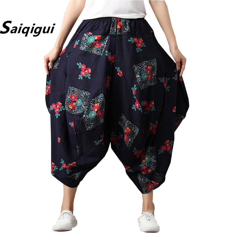 Saiqigui 2019 Vintage Summer Women Calf-Length   Pants   Elastic waist Casual loose Cotton Linen   pants   Print   Wide     Leg     Pants