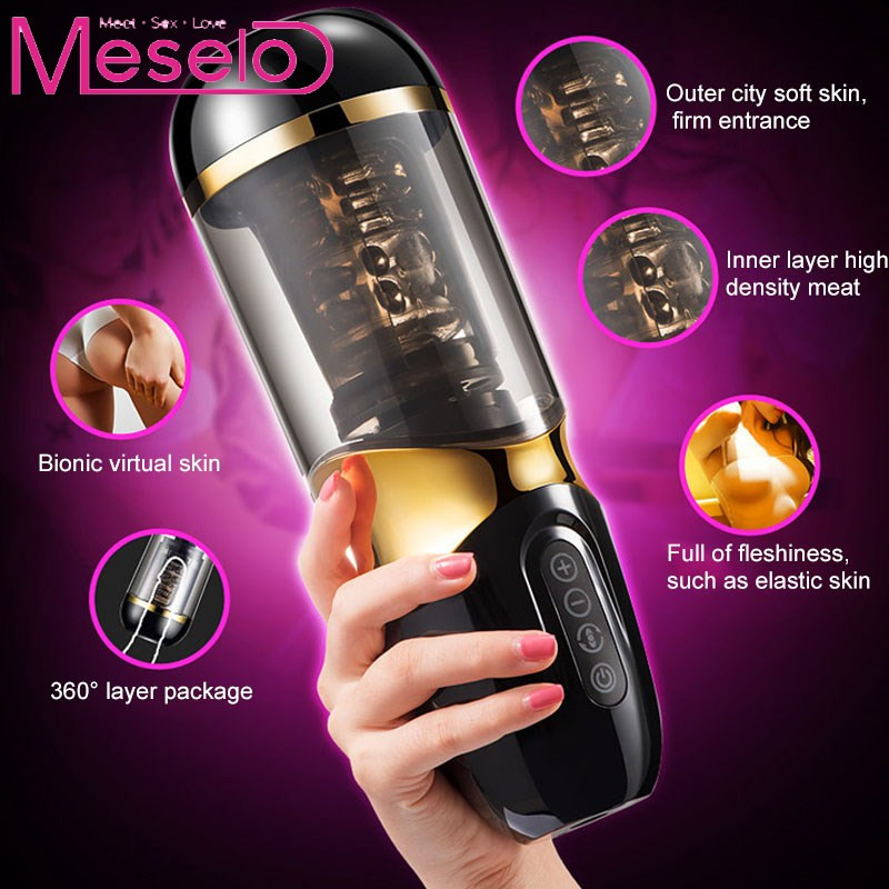 Meselo Electric Vibrations Automatic Piston Rotating Sucking Male Masturbator Cup Artificial Vagina Real Pussy Sex Toys For Men