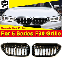 F90 Pair gloss black Kidney grille grill Diamond style ABS LCI design M5 look Front Bumper Grills 1-Pair 1:1 Replacement 2019-in
