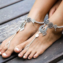 Women 2019 Summer Bohemian Flower Hollow Out Chain Anklets Indian Jewelry Beach Foot Jewelry Sandals Barefoot Ankle Boots(China)