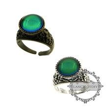 Vintage estilo cabujón redondo plata envejecida, flor de bronce color cambiante estado de ánimo anillo de moda emoción mujeres anillo ajustable 629002