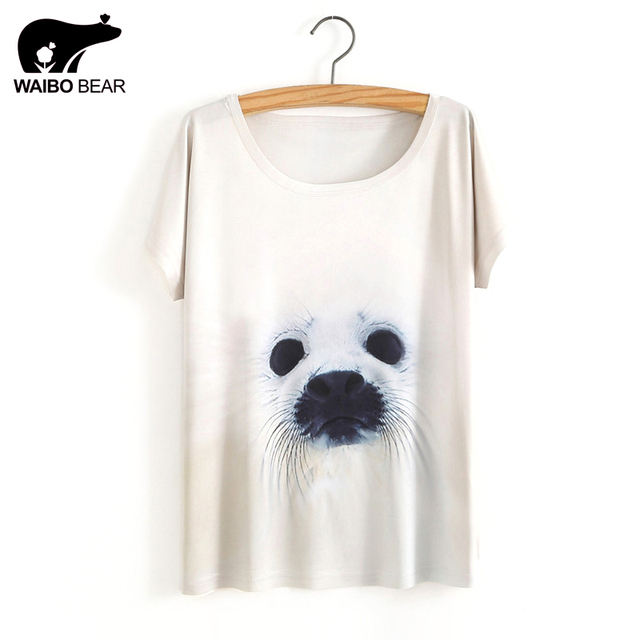 US $7 41 32% OFF|2017 Women Summer Novelty Kawaii Seal Design T shirt  Fashion Animal Tops Hot Sales Tee Shirts-in T-Shirts from Women's Clothing  on