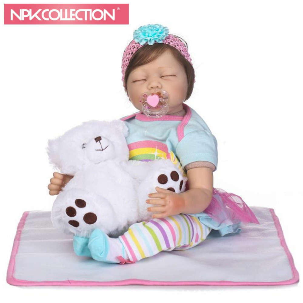 NPKCOLLECTION 55cm Reborn Doll toys Baby's New Style Lifelike Simulated Role Play Sleeping doll with Children kid drop shipping role play dress up simulated lifelike reborn doll princess