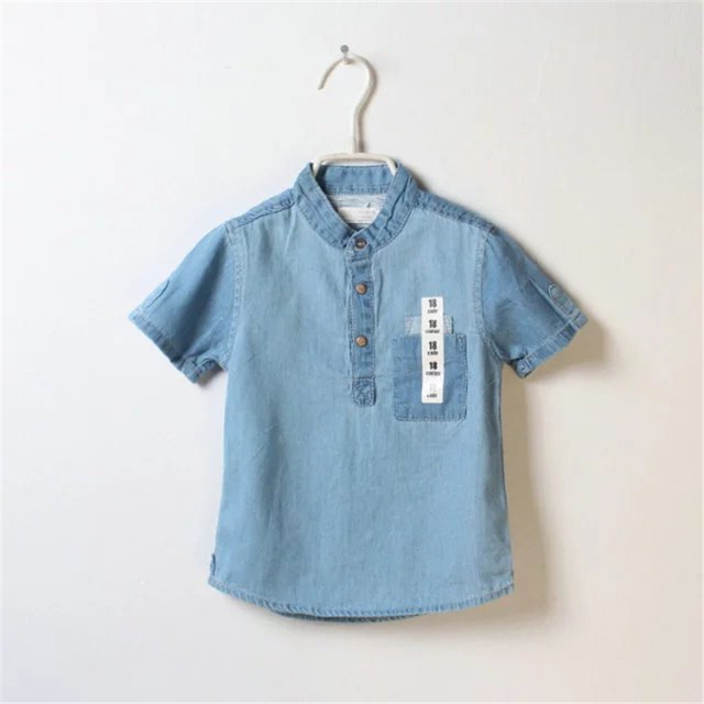 New Style Spring Summer Children's Clothing Boy T-shirts Cute Short-sleeved Turn-down Collar Denim Shirt for Baby Boys Clothes