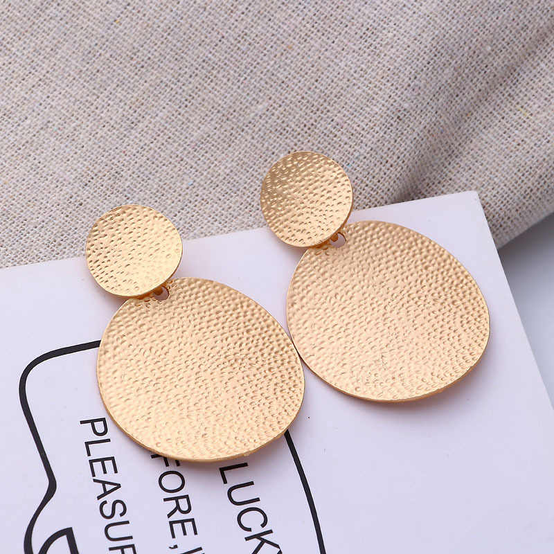 2018 Fashion Glamour Jewelry Simple Round Pendant Earrings Gold Geometric Earrings Big Earrings for women Party Gifts A442