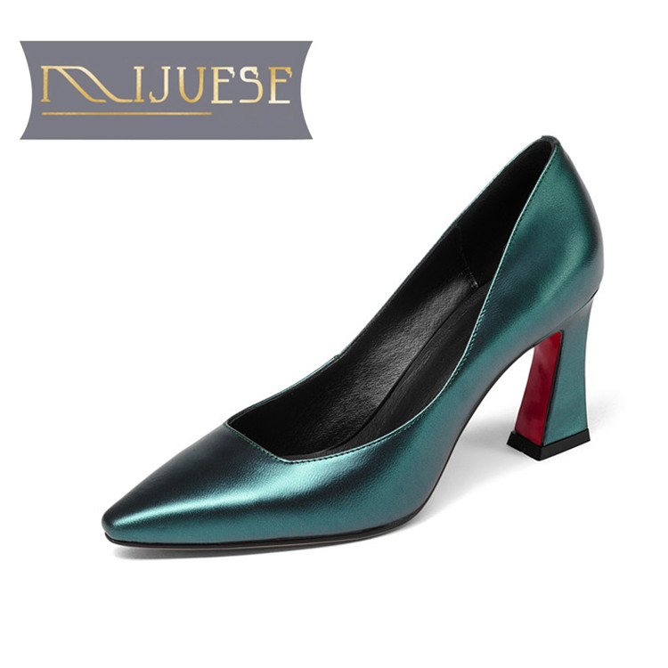 MLJUESE 2018 Women Pumps Genuine Leather Pointed Toe Chaussures Femme Slip On Autumn Spring High Heels