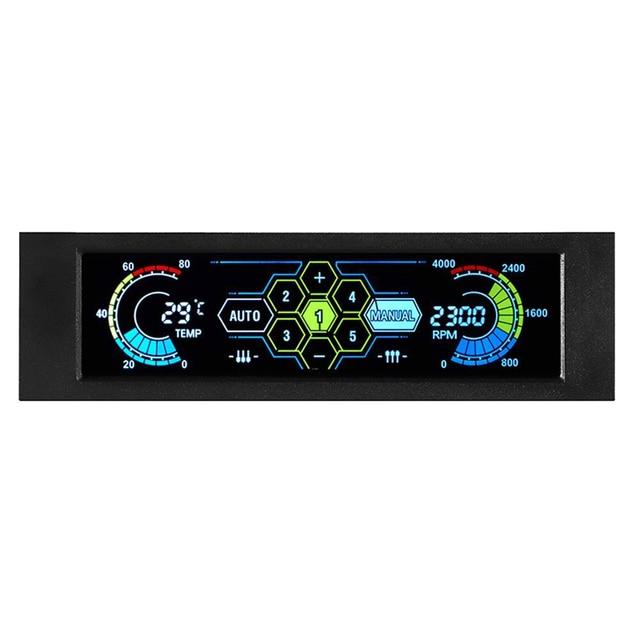 STW جهاز تحكم بالمروحة LCD تعمل باللمس البلاستيك 5.25 بوصة خليج الجبهة 5 مروحة سرعة الكمبيوتر التبريد