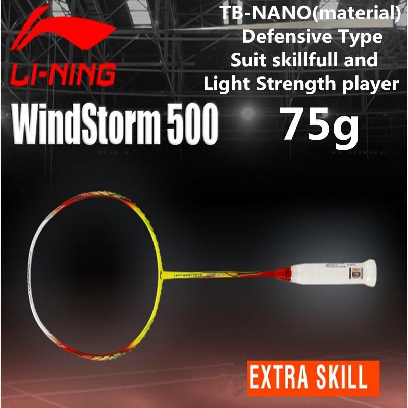 LiNing Light 5U(75g) Badminton Racket Windstorm 500 Professional Full Carbon Lining Racquets Suit Light Strength Players L301OLB