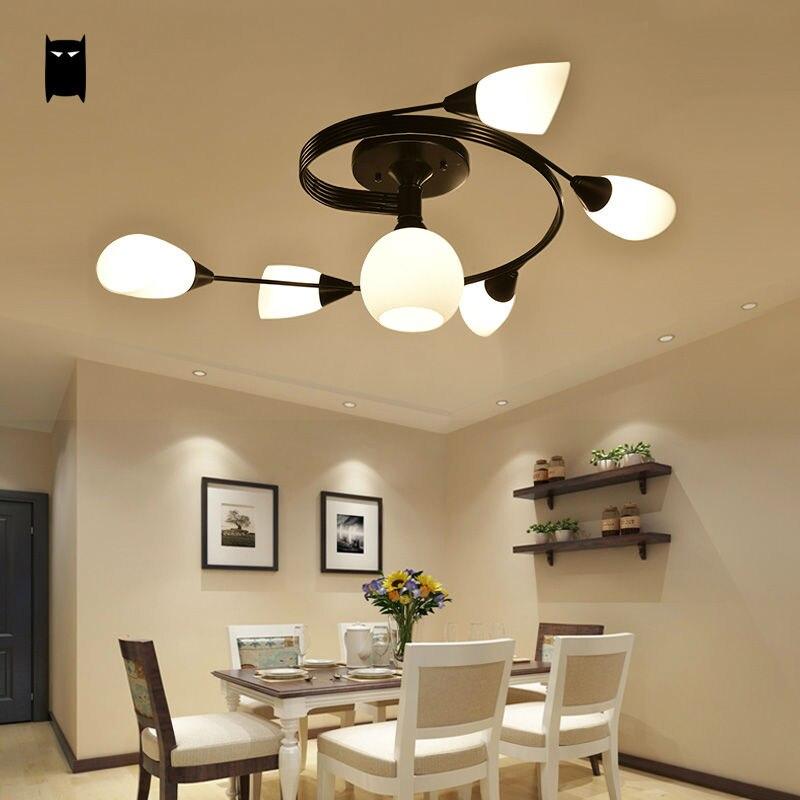 Us 1850 Schwarz Schmiedeeisen Glas Schatten Blume Deckenleuchte Moderne Rustikalen Hängenden Lampe Plafon Glanz Schlafzimmer Wohnzimmer In