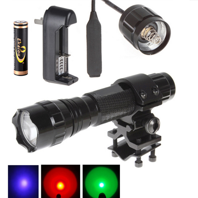 Green/Red/Purple Light LED Tactical 501B Flashlight Torch Kit +18650 Battery+ Charger+Pressure Switch+Mounts колонка interstep sbs 150 funny bunny light green