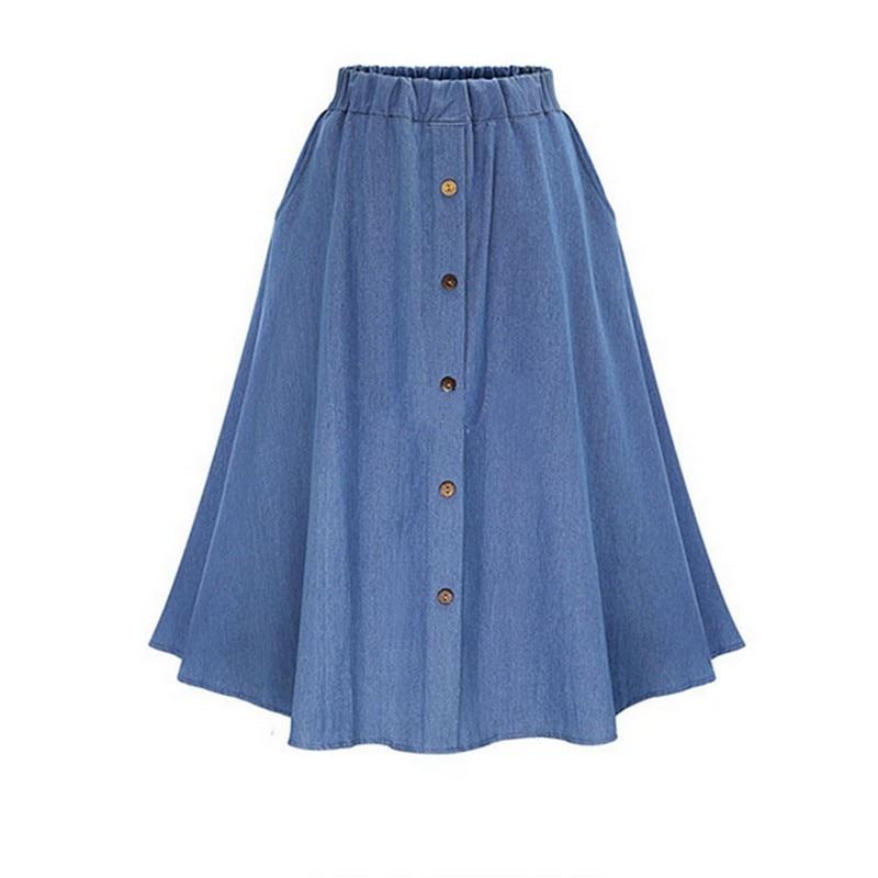 Retro augstas jostasvietas džinsa svārki vaļīgi cieti Jean Faldas - Sieviešu apģērbs