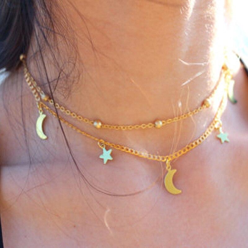 IF ME, винтажное многослойное ожерелье с кулоном из кристаллов, женские бусы золотого цвета, Лунная звезда, рога полумесяца, колье, ожерелье, ювелирное изделие, Новинка - Окраска металла: NJDY134