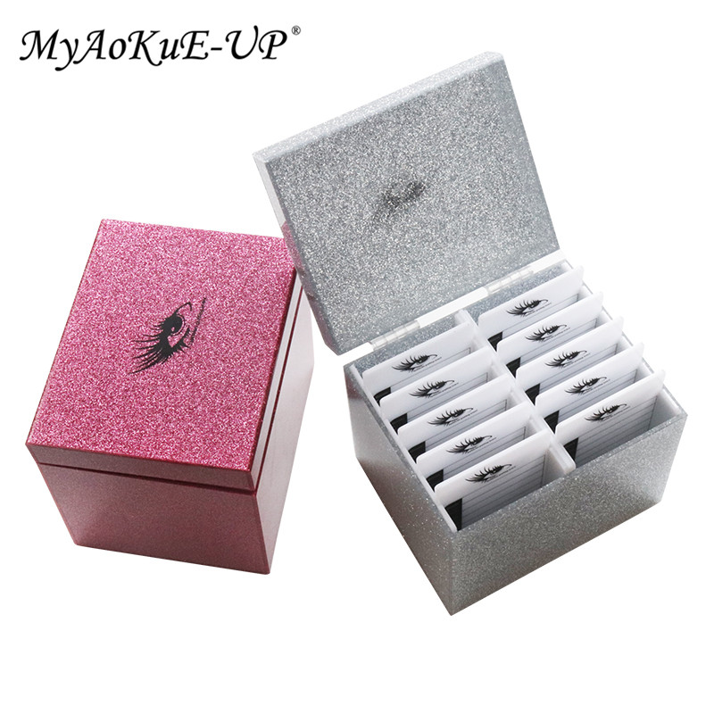 10 Layers Eyelash Extension Storage Box Makeup Organizer Eyelashes Glue Display Holder Case 3 Colors