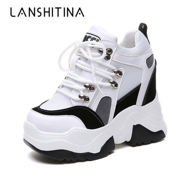 2019 חדש נשים פלטפורמת נעליים יומיומיות רשת לנשימה טריז עקבים נעלי 10 cm סתיו עבה בלעדי סניקרס אישה Deportivas Mujer