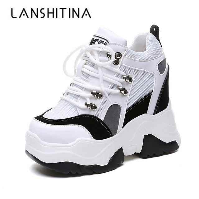 ¡Novedad de 2019! Zapatos de plataforma informales para Mujer, zapatos de malla con tacón de cuña transpirables, zapatillas de deporte de suela gruesa de 10CM para otoño, Deportivas para Mujer