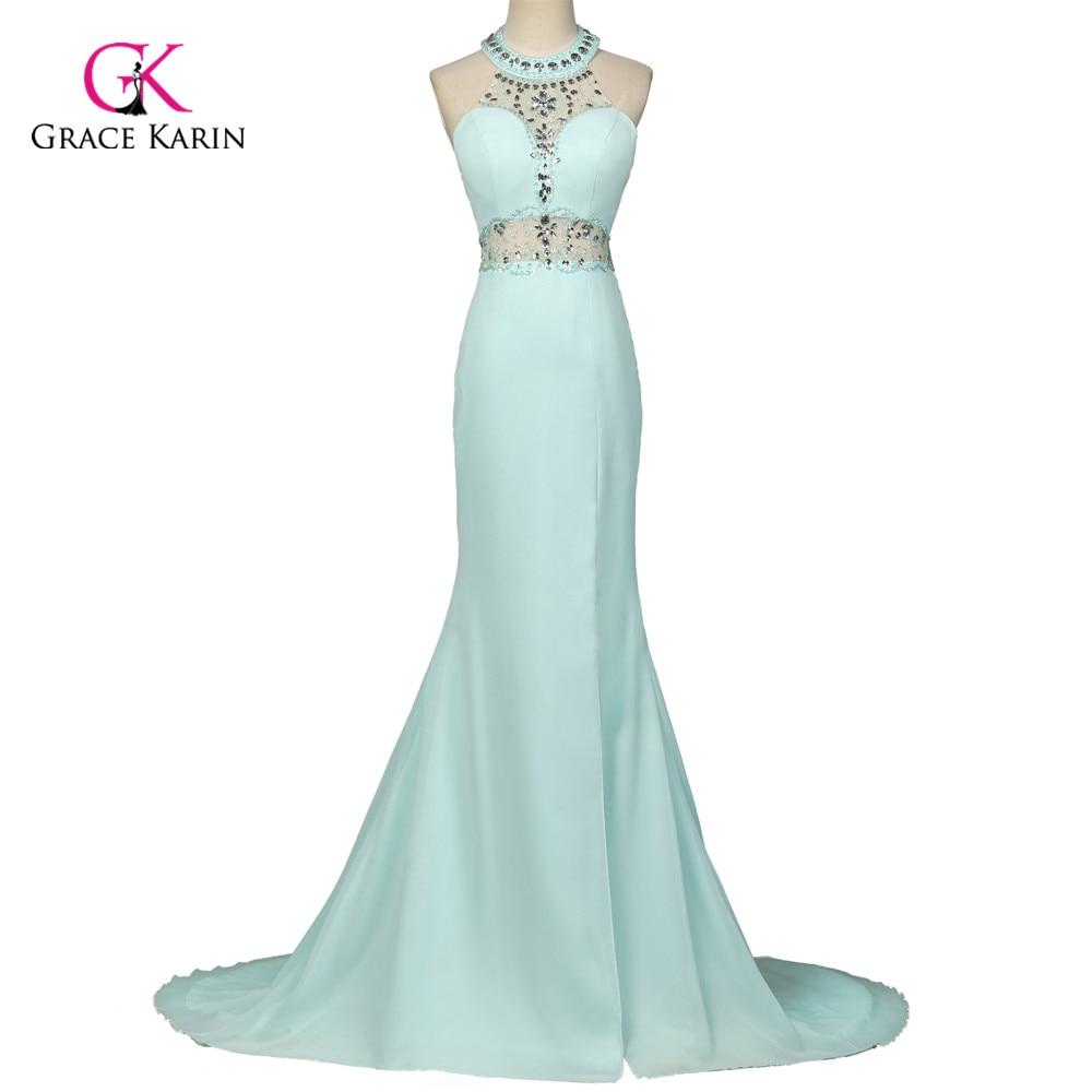 3a39c6182a0 Unique designer Powder Blue Mermaid Evening Dress Gown Crystal Beaded  Halter Prom Dress backless long slit Evening Dresses 7598