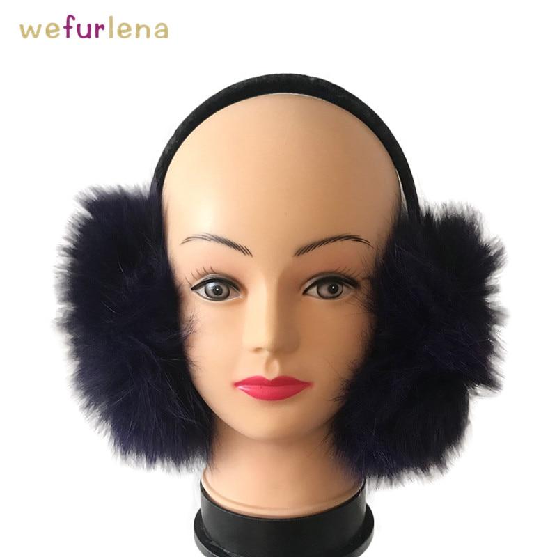 Adjustable Real Genuine Fox Fur Winter Earmuffs For Women Fluffy Fur Warm Earmuffs Ear Protection Warmers Cover Ears Fashion