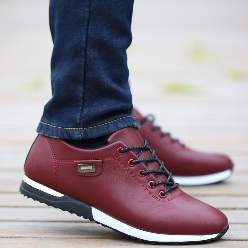 HTB1Y7aXXYr1gK0jSZR0q6zP8XXaX Men's PU Leather Business Casual Shoes for Man Outdoor Breathable Sneakers Male Fashion Loafers Walking Footwear Tenis Feminino