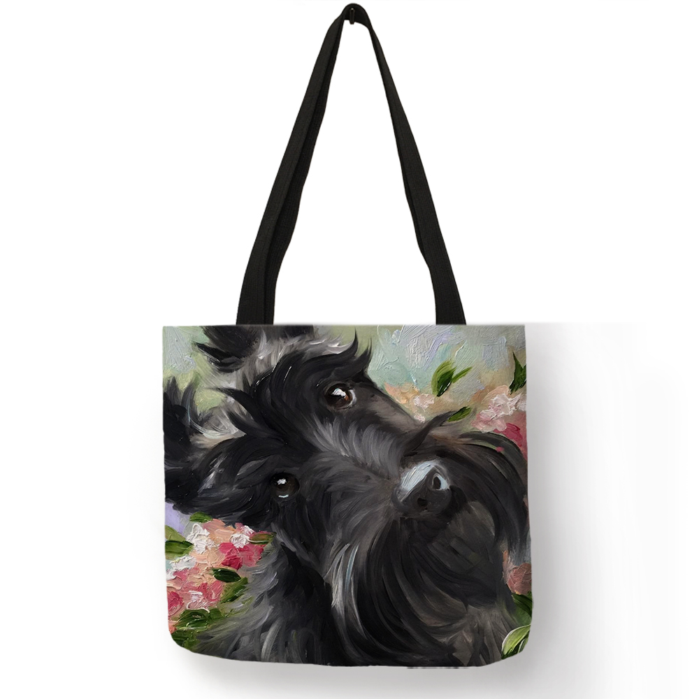 Scottish Terrier Painting Shoulder Bag Dogs Printed Shopping Travel Bags For Women  Eco Linen Casual TotesScottish Terrier Painting Shoulder Bag Dogs Printed Shopping Travel Bags For Women  Eco Linen Casual Totes