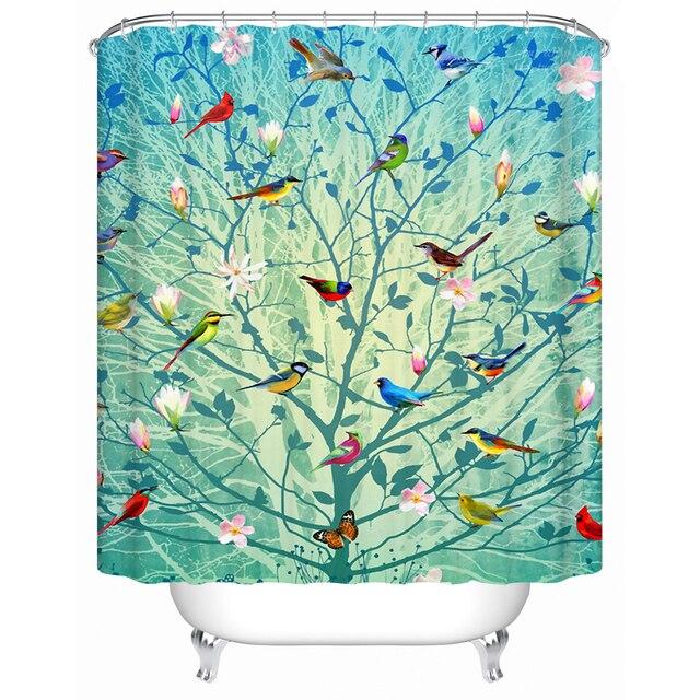 Delightful Beautiful Bird Stands On The Tree Eco Friendly Shower Curtain Bathroom  Curtain Acceptable Custom Waterproof