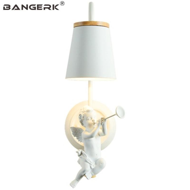Nordic Design Resin Angel Sconce Wall Light LED Modern Bedroom Bedside Wall Lamp Loft Iron Home Decor Lighting Luminaire
