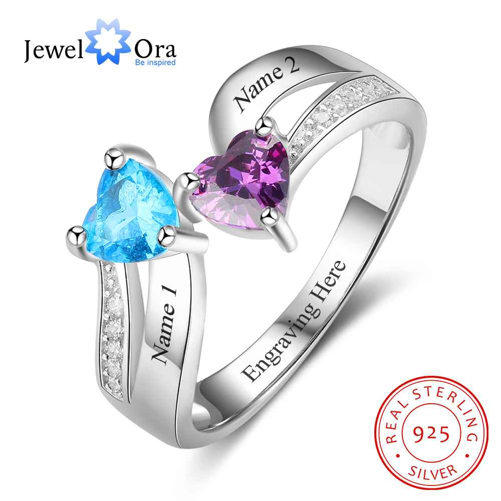 personalized heart birthstone custom engrave 2 names promise ring love 925 sterling silver anniversary gift jewelora ri103269 Heart Shape Promise Rings Personalized Birthstone Engrave 2 Names 925 Sterling Silver Jewelry Gift For Her (JewelOra RI103266)