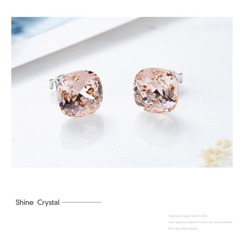 HTB1Y7b.bcnrK1RjSspkq6yuvXXaI CDE 925 Sterling Silver Earrings Square Embellished with crystals Stud Earrings Women Earrings Womens Jewellery