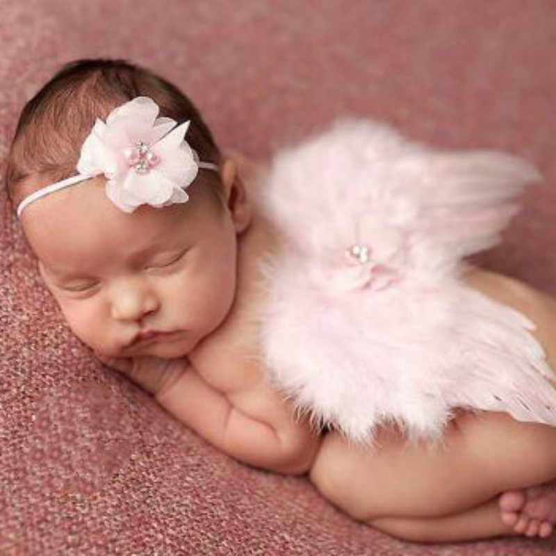 Mode Pasgeboren Baby Kids Feather Lace Hoofdband & Angel Wings Bloemen Foto Props pasgeboren fotografie rekwisieten