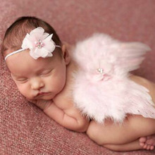 Fashion Newborn Baby Kids Feather Lace Headband & Angel Wings Flowers Photo Props newborn photography props
