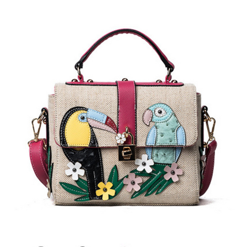 Elegant lady parrot decals pattern handbag rivets embroidery woven bag flowers high quality metal lock head bag bayan canta sac high quality colorful flowers and girl pattern removeable wall stickers