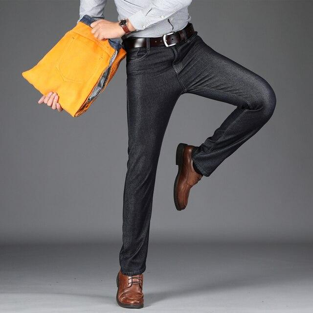 24422f7481a 2019 New Winter Fleece Men Jeans Stretch Flockin Jeans Slim Fit Plus Size  to 40 Big