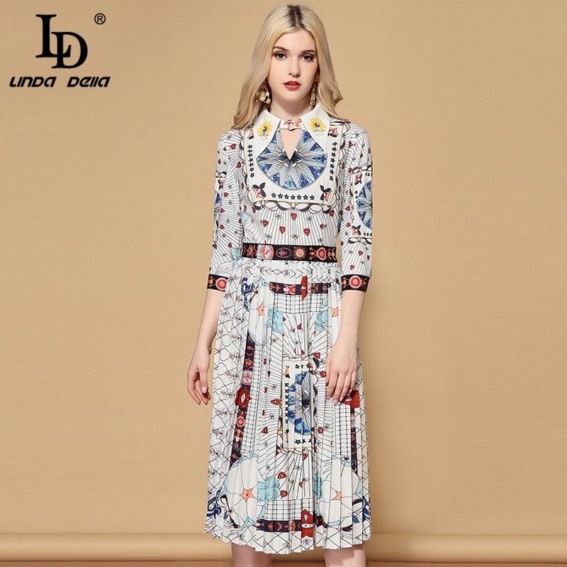 LD LINDA DELLA Vintage Casual Midi Dress 2019131101