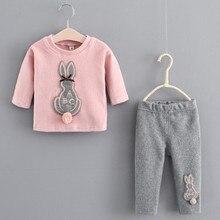 Momoda New Fashion 2017 Autumn Winter Baby Girl Thicken T shirt+Pants Cute Rabbit Velvet Clothing Set For 0-4 Years #001